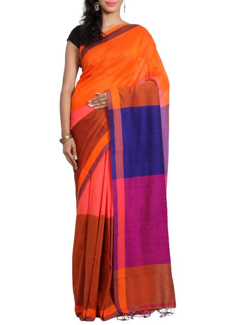 Handwoven Khadi Cotton Saree in Orange&Peach