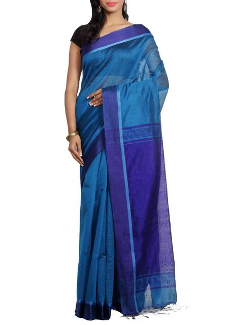 ReshamCotton Handwoven Saree in Blue