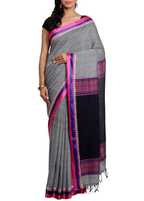 MomPolish Pure Cotton Saree in Grey&Black