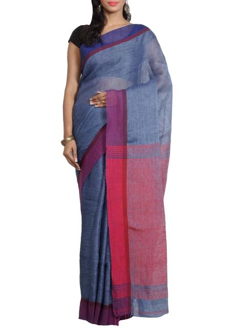 Pure Linen Handwoven Saree in Blue&Pink