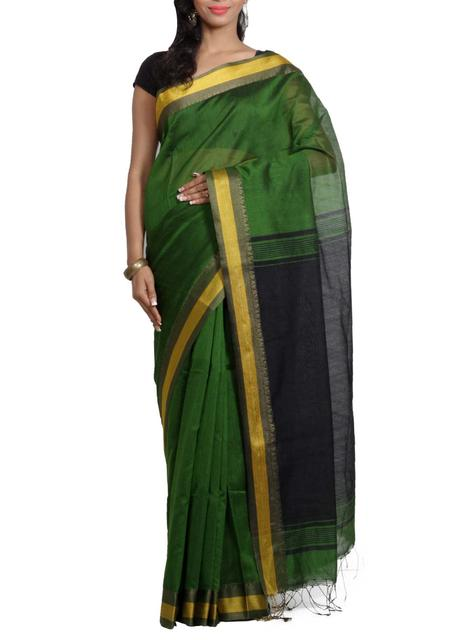 ReshamCotton Handwoven Saree in Dark Green