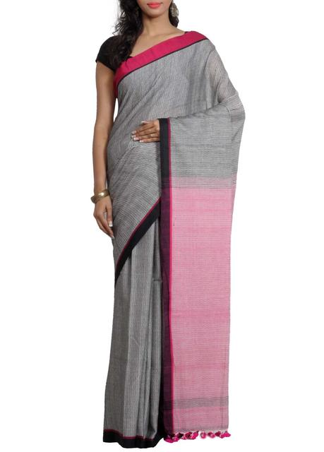 Grey  'Dhanjhora' Cotton Saree