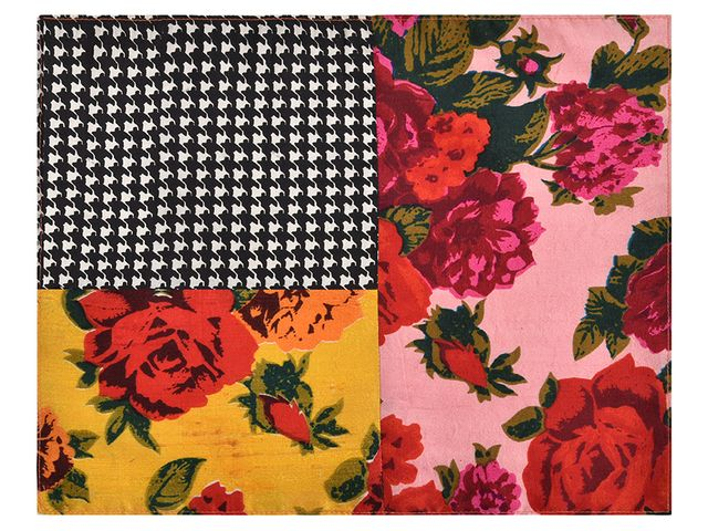 Yellow-Pink-Black Pocket Square