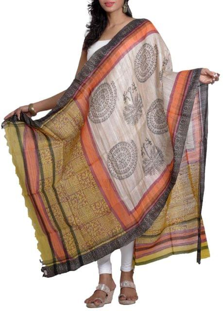 Raw Geecha Dupatta with Handblocked Harappan Motifs