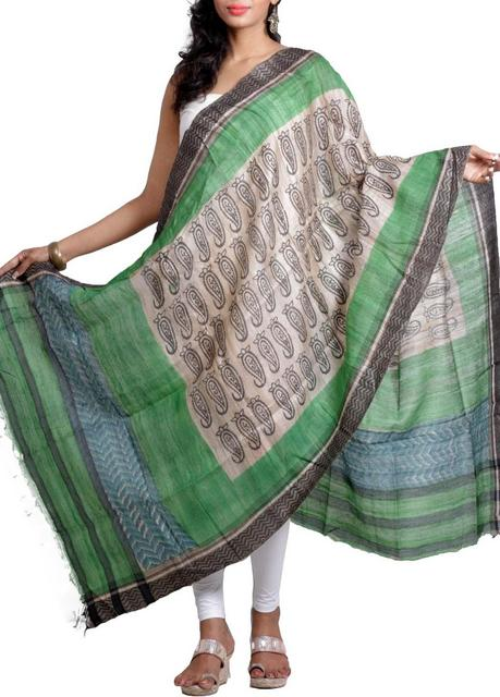 Raw Geecha Dupatta with Handblocked Paisley