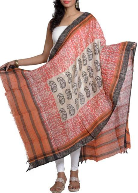 Raw Geecha Dupatta with Handblocked Paisley and Motifs