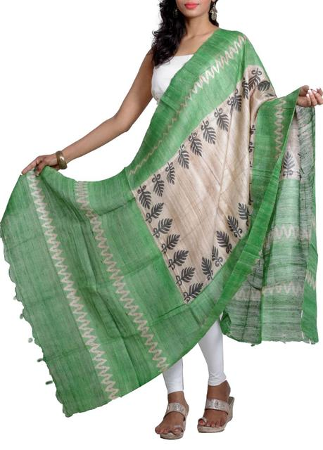 Raw Geecha Dupatta with Handblocked Pine Leaf Motif