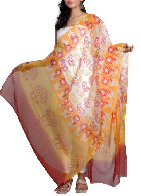 Handwoven Chanderi Dupatta with HandBlocked Paisley Prints