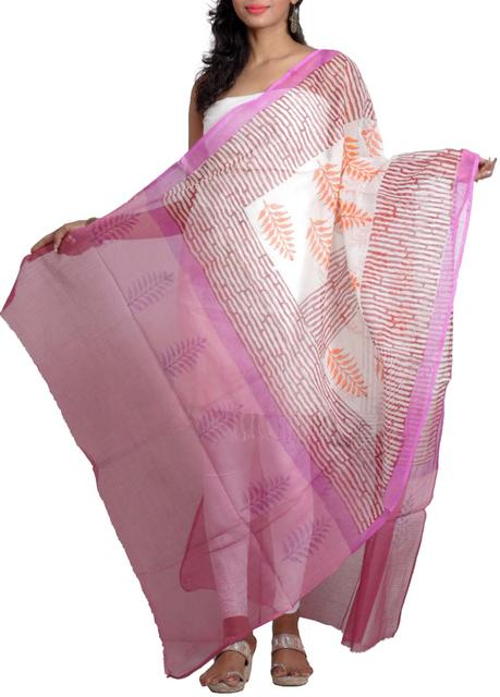 Handwoven Chanderi Dupatta with HandBlocked fern Prints