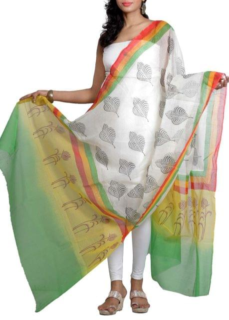 Handwoven Chanderi Dupatta with HandBlocked Wildflower Prints