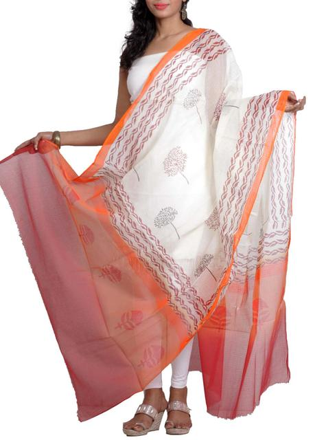 Handwoven Chanderi Dupatta with HandBlocked Tree Prints