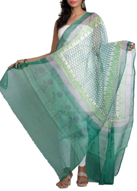 Handwoven Chanderi Dupatta with HandBlocked Abstract Floral Prints