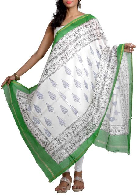 Silk Chanderi Handwoven Block Printed Dupatta with Tribal Motif