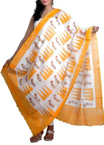 Silk Chanderi Dupatta with HandBlocked Crown&Roses Prints