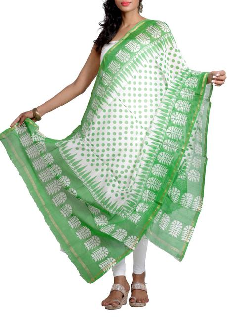 Handwoven Silk Chanderi Dupatta with HandBlocked Polka Prints