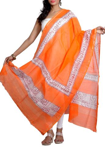 Silk Chanderi Dupatta with HandBlocked Dancing Figures