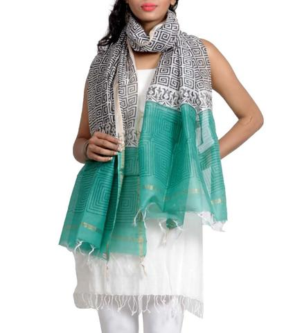 Silk Chanderi Handwoven Dupatta with HandBlocked Abstract Prints