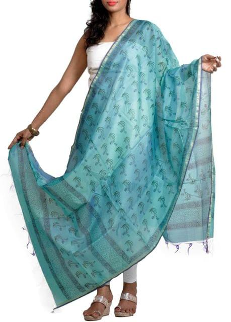 Blue Handwoven Silk Chanderi Dupatta with HandBlocked Prints