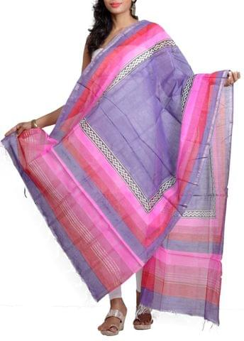 Silk Chanderi Tie-Dye  Dupatta with HandBlocked Prints