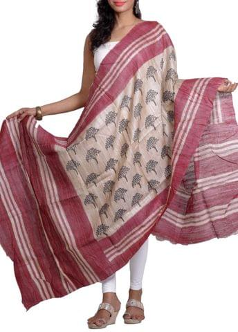 Maroon Raw Geecha Dupatta with Handblocked Tree Of Life