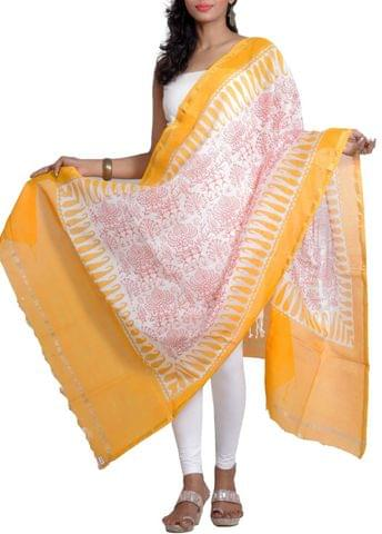 Silk Chanderi Dupatta with HandBlocked Tribal Motifs