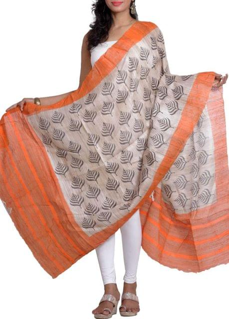 Raw Geecha Dupatta with Handblocked Fern Prints