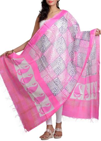 Pink Silk Chanderi Dupatta with HandBlocked Prints