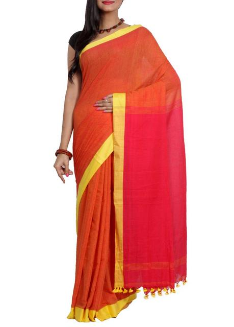 OrangePink 'Dhanjhora' Pure Cotton Handwoven Saree