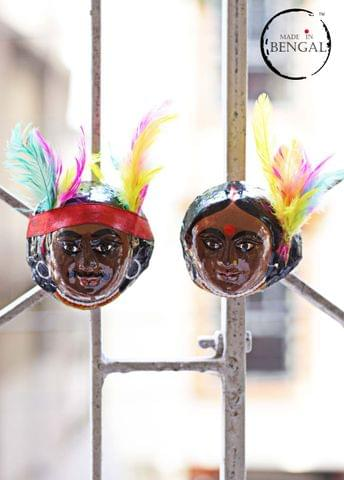 Miniature Chhau Mask Magnets : Santhal Couple