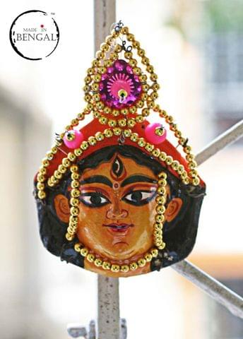 Miniature Chhau Mask Magnets : Durga with golden beads