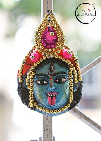 Miniature Chhau Mask Magnets : Kali with golden beads