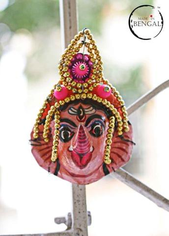 Miniature Chhau Mask Magnets : Ganesh with golden beads