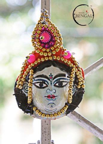 Miniature Chhau Mask Magnets : Saraswati with golden beads