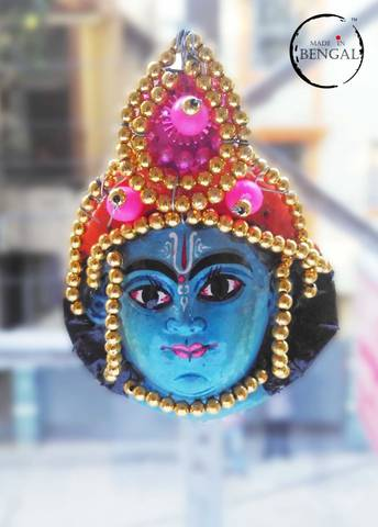 Miniature Chhau Mask Magnets with golden beads : Vishnu