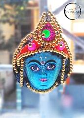 Miniature Chhau Mask Magnets with golden beads : Kartik