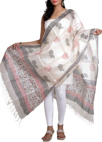 Sona Mukhi Tussar Stoles with Block Prints