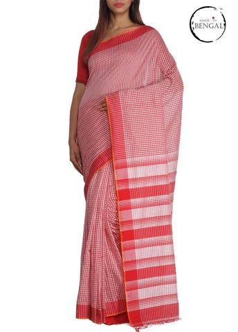 Laal Check Gamcha Saree