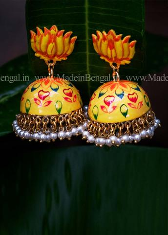 Yellow Floral Jhumka