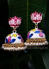 White Floral Jhumka