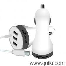 Portronics Car Power 2 3USB Port With Micro USB Cable-White