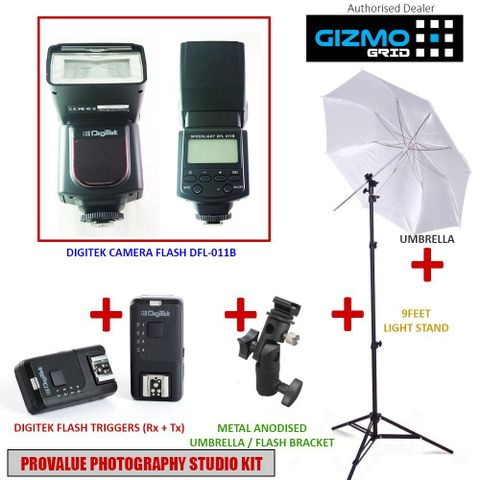 Photography Studio Kit with all Essentials Supports all DSLR Cameras Canon, Nikon, Sony, Panasonic, Pentax (Speedlite Camera Flash, Triggers, Umbrella, Bracket & Light Stand) [ GizmoGird