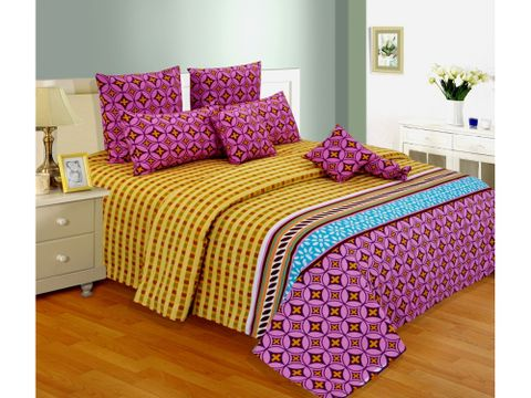 Salona Bichona 100% Cotton Double Bedsheet with Two Pillow Covers
