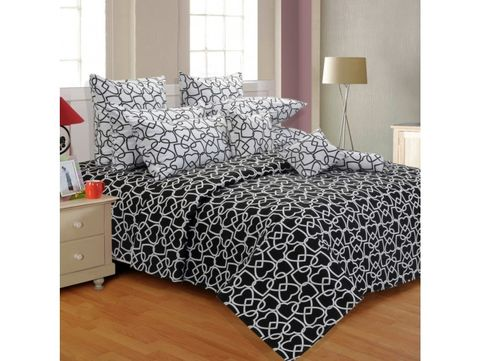 Salona Bichona 100% Cotton Abstract Black Double Bedsheet with Two Pillow Cove 05