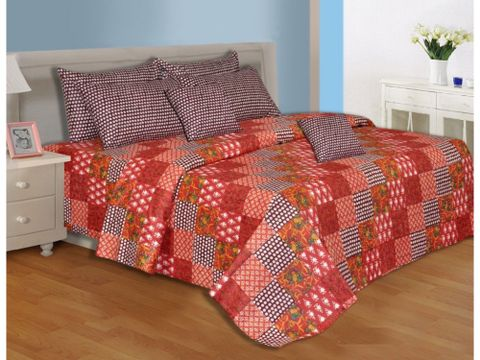 Salona Bichona 100% Cotton Checks Red Single Bedsheet with One Pillow Cover 001