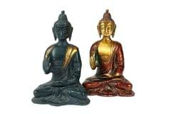 Buddha folded legs in Nepali Blue finish - small