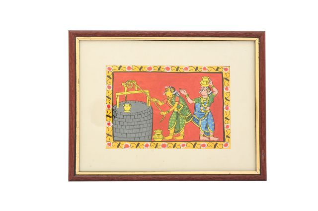 Women Drawing Water from Well - Cheriyal Scroll Painting