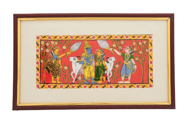 Krishna with Gopikas - Cheriyal Scroll Painting