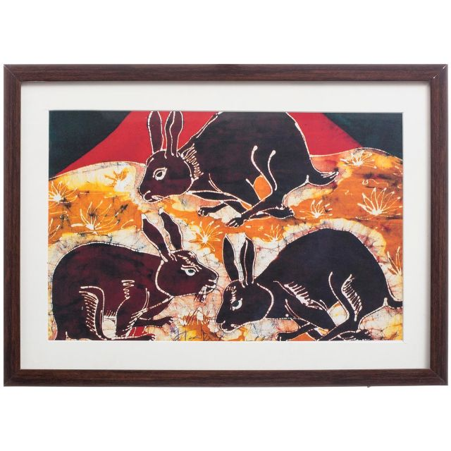 Rabbits Bathik Painting - Replica