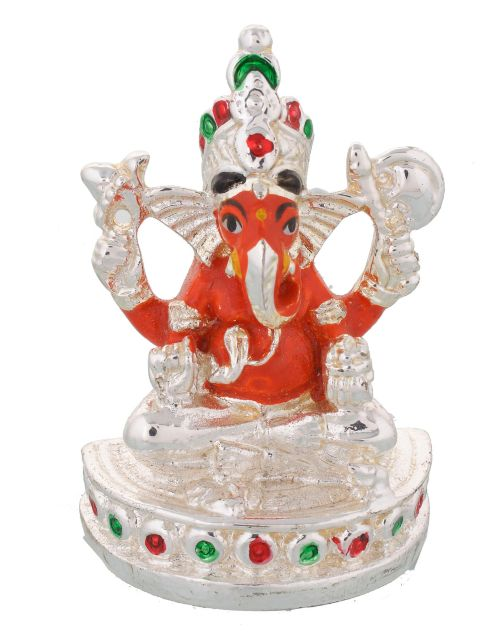 Marble Ganesha bust with Silver plating