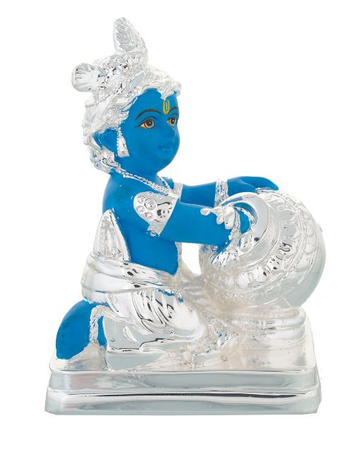Young Krishna with Laddu - Silver plated